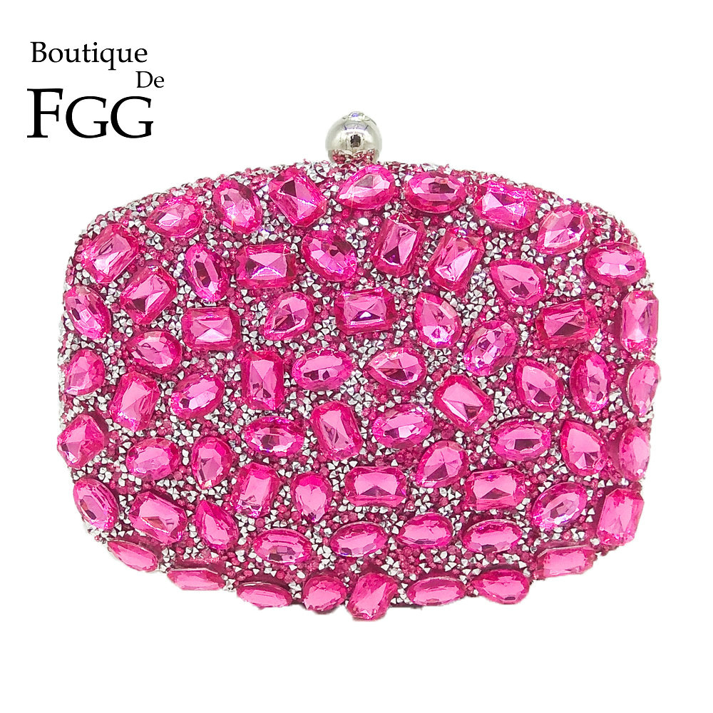 Fuchsia Pink Diamond Crystal Women Evening Cocktail Party Clutches Bags Wedding Dress Gold Handbag Purse Bridal Metal Clutch Bag