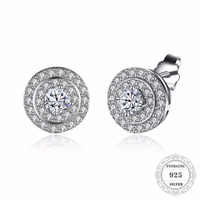 HEMISTON 925 Sterling Silver Round Small Disc Stud Earrings With Clear CZ Female Women Fine Jewelry