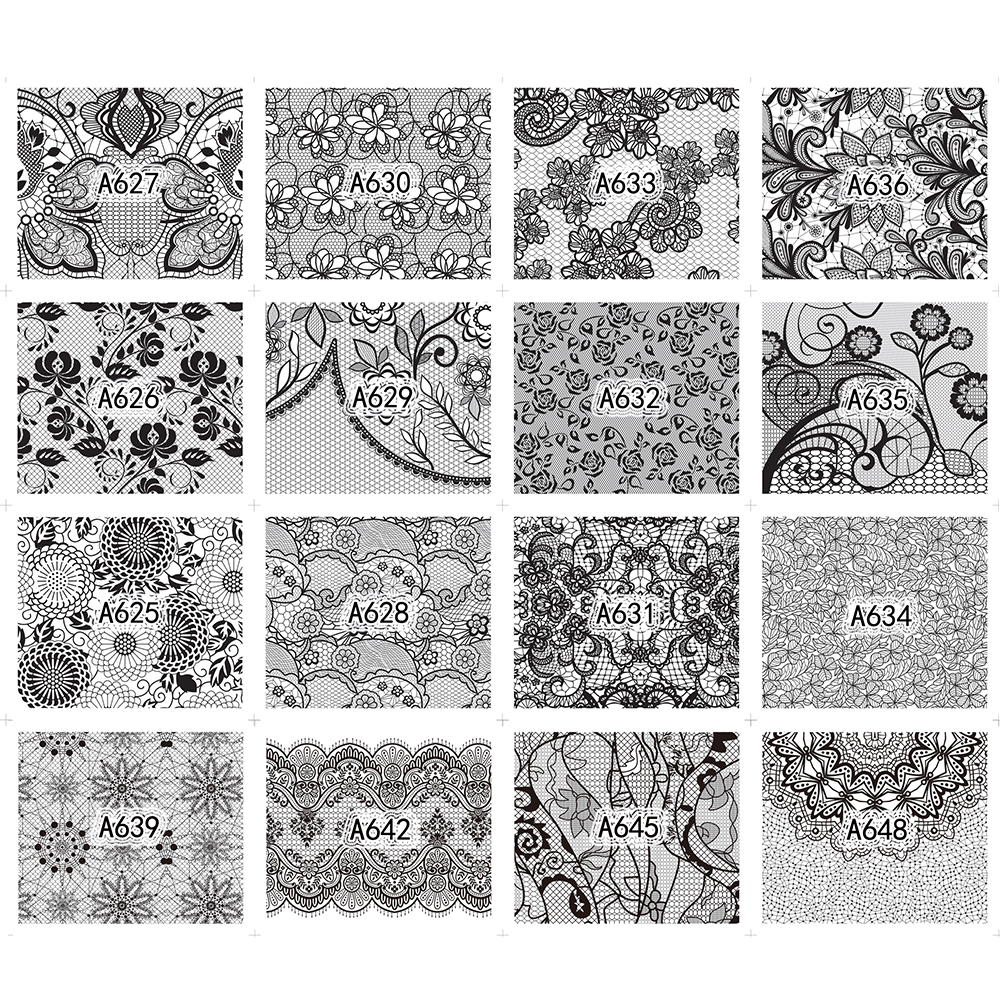 40 Sheet/lot Nail Art Water Transfer Black Flowers Stickers For Nail Lace Tips Nail Art Decorations Foil Set SAA625-672 2
