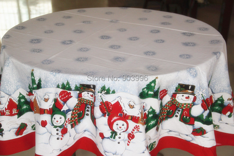 Free Shipping Christmas Red Edge Snowman Round Tablecloth