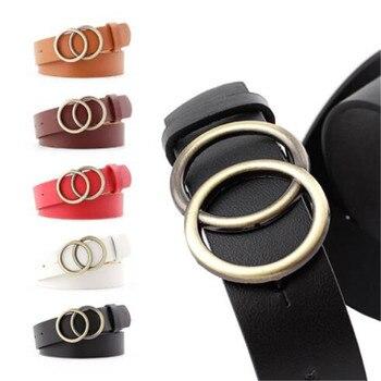 WKOUD Women Double Round Gold Metal Buckle Belts 2019 Fashion PU Leather Adjustable Waist Belts Jeans Dress Casual Waistbands