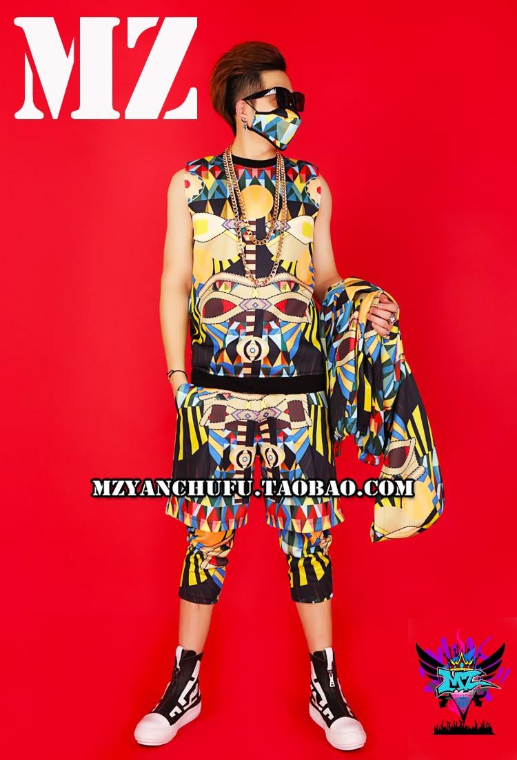 New 3D dicetak pria batu hip-hop DS street dance hoodied klub malam - Pakaian Pria - Foto 4