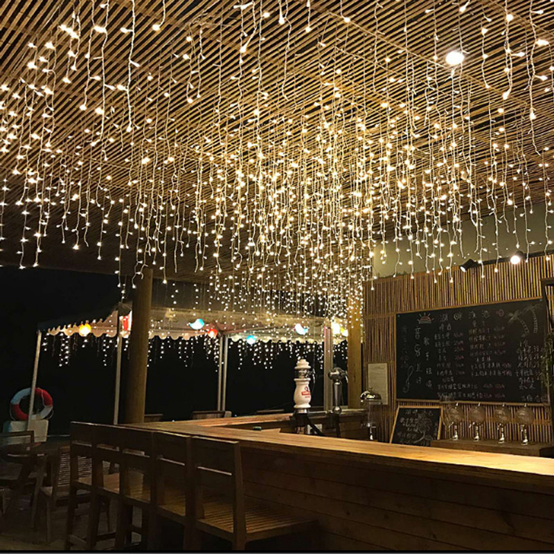 lowest price Christmas Garland LED Curtain Icicle String Light 220V 5m 96Leds Indoor Drop LED Party Garden Stage Outdoor Decorative Light