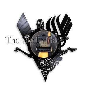 Image 5 - 1 חתיכה עתיקות הנורדית ויקינג בציר עיצוב מואר קיר שעון ויקינג לוחם נשק קרב גרזן בית תפאורה קיר אמנות LED מנורה