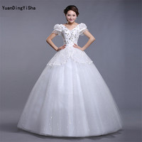 Real Photo V-Neck Lace-Up Back Sexy Lace Wedding Dress Short Sleeve 2017 Beading Crystal Vestido De Noiva Ball Gown