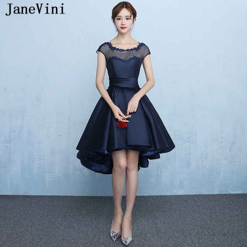 JaneVini 2019 Elegant High Low Navy Blue   Cocktail     Dresses   Scoop Neck Cap Sleeve Appliques Beaded Tea-Length   Cocktail   Party Gowns