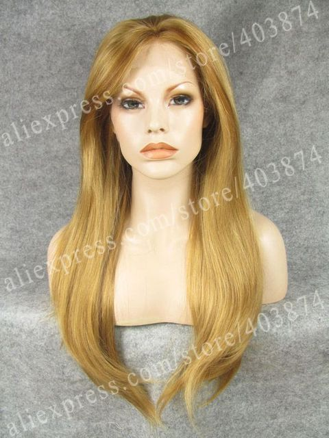 N2-27HY/10# Fashion Long Silky Straight 24 inch Blonde mixed Brown Color Synthetic Lace Front Wigs for Party