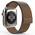 Para a apple watch faixas de correa 42mm milanese laço cinta banda ligação pulseira de aço inoxidável para a apple iwatch 42mm 38mm preto