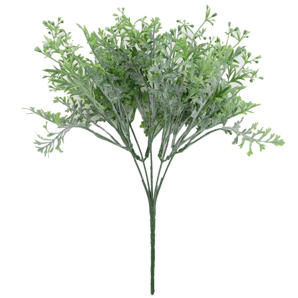 5 Fork Antler Leaf Bunch Artificial Flocking Antler Flower Fake Grass Green Plant Greenery For Home Office Table Decoration
