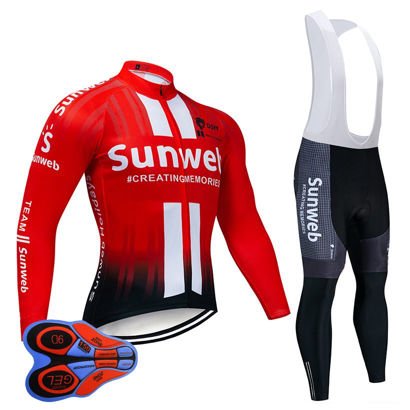 2019 rouge Sunweb cyclisme Jersey 9D bavoir ensemble vtt uniforme respirant vélo vêtements séchage rapide vélo vêtements hommes Long vêtements de cyclisme
