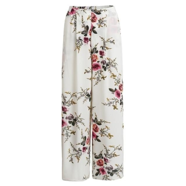 22ce4e523e 2017 Summer Floral Print Wide Leg Pants Ladies Women Casual Loose Side Split  Culottes Elastic Waist Beach Long Pants
