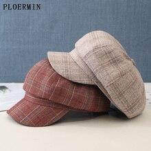 Octagonal Hat Visor-Caps Newsboy-Hat Berets Women Fashion Autumn Plaid Lattice Female