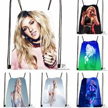 Custom Ellie Goulding Guns and Horses Drawstring Backpack Bag Cute Daypack Kids Satchel (Black Back) 31x40cm#180531-04-60