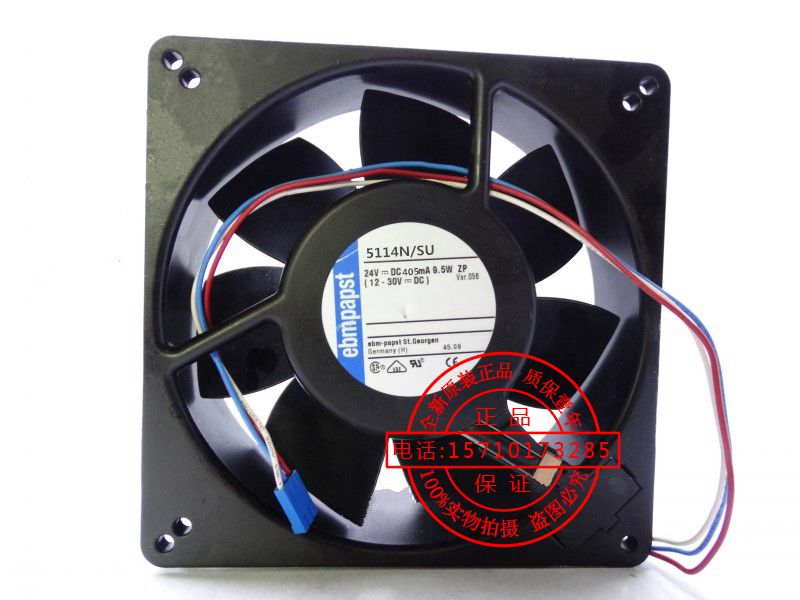 Original ebmpapst 5114N/SU 24V 9.5W three-wire all-metal high temperature fan new original bp31 00052a b6025l12d1 three wire projector fan