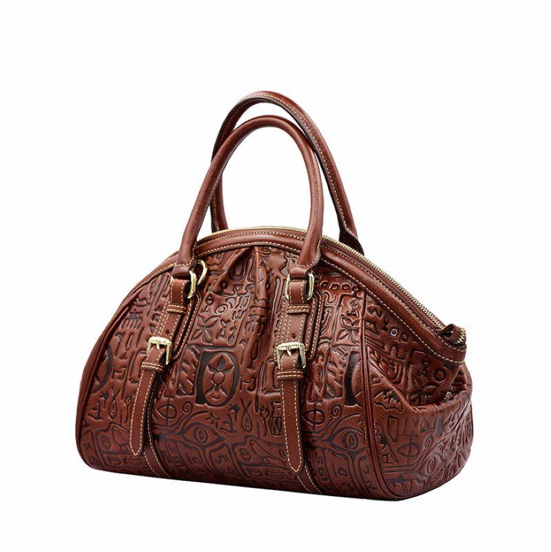 Luxury 100% Genuine Leather Women Bag\Handbag,Fashion Retro Dumplings Shell Tote Top Cowhide Embossed ladies' Shoulder Bag~13B67 luxury 100% genuine leather women bag handbag retro cowhide ladies shoulder bag messenger bag big capacity tote bag aw rs03