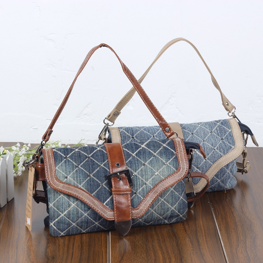Vintage Fashion Leather Belt Denim Jeans Shoulder Bags Girls Handbags Crossbody Bag Women Messenger Bags Purse bolsa feminina women shoulder bags leather handbags shell crossbody bag brand design small single messenger bolsa tote sweet fashion style