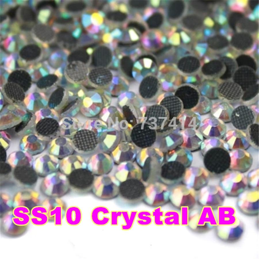 SS10 1440ks / sáček Clear AB Crystal DMC HotFix FlatBack Kamínky DIY Žehlička na sklo HotFix Crystal