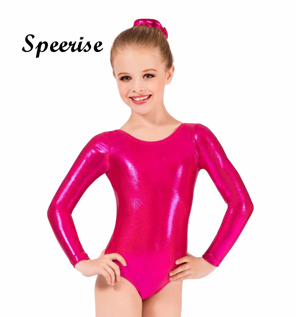 Speerise Kids Girls Long Sleeve Shiny Metallic Spandex Gymnastics Dance Leotard Glod Scoop Neck Bodysuit pink scoop neck heart
