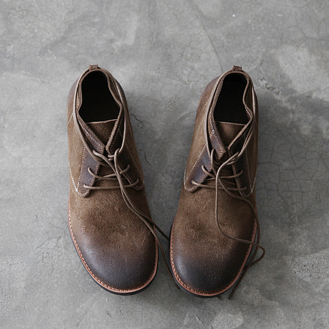 Spring Autumn Casual Male Genuine Leather Solid Buckle Strap Vintage Fashion Shoes Men's Lace Up Casual Shoes