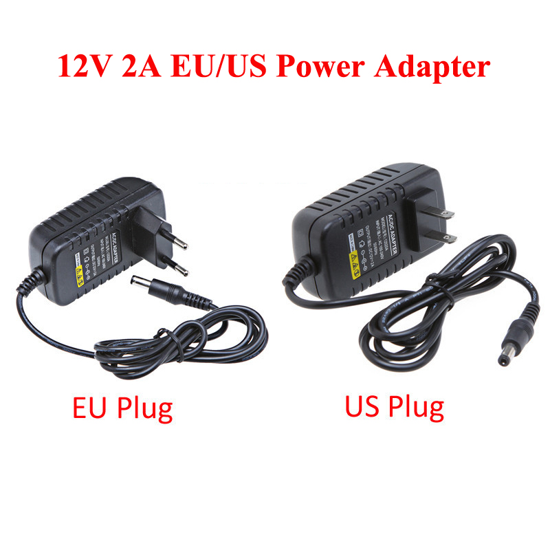 EU US 12V 2A Power Supply AC 100-240V To DC Adapter Plug For CCTV Camera / IP Camera Surveillance Accessories new dc 12v 2a ac 100 240v eu us uk au dc adapter charger power supply for led strip light cctv 2 5 5 5mm for dvr camera systems