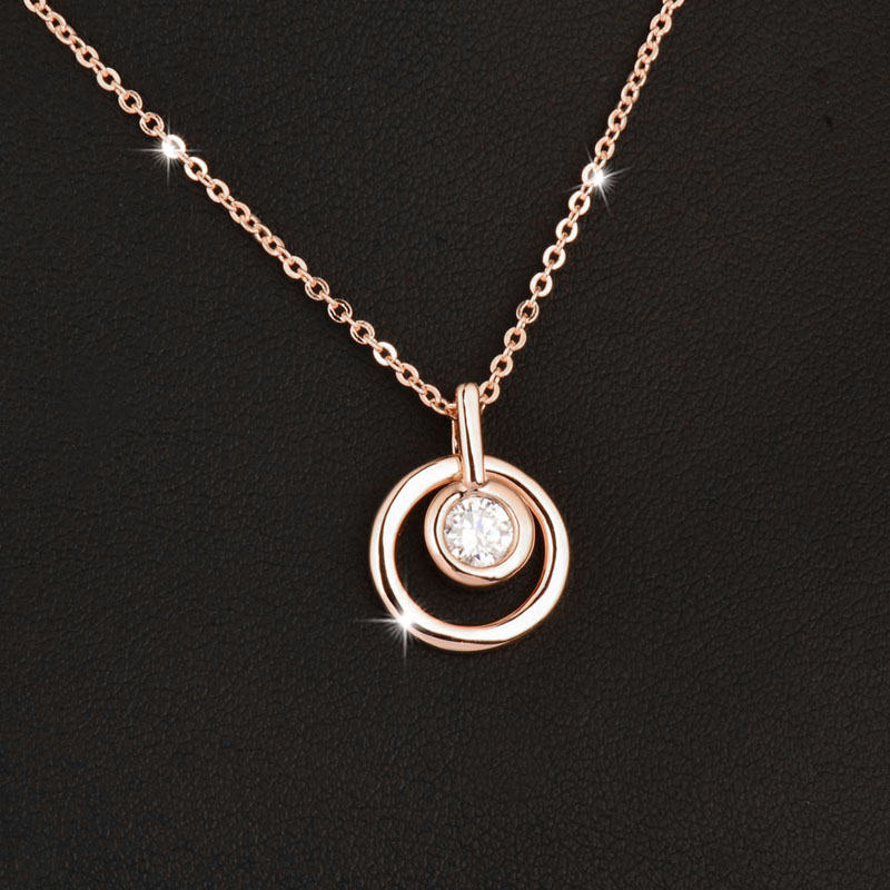 SINLEERY Round Pendant Short-Chain Circle Women Jewelry Classic Rose-Gold-Color Necklace With