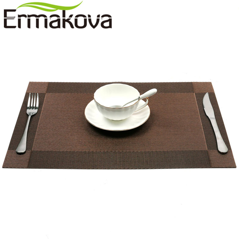 ERMAKOVA Placemat Table Cloth Pad Washable PVC Table Mat Stain-Resistant Dining Disc Bowl Pad Coaster Non-slip PVC Pad