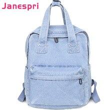 ФОТО janespri women vintage washed denim jean backpack girls fashion multifunctional travel shoulder bags big campus mochilas bolsa