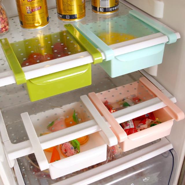 High Quality Plastic Kitchen Refrigerator Storage Rack Fridge Freezer Shelf Holder Pull Out