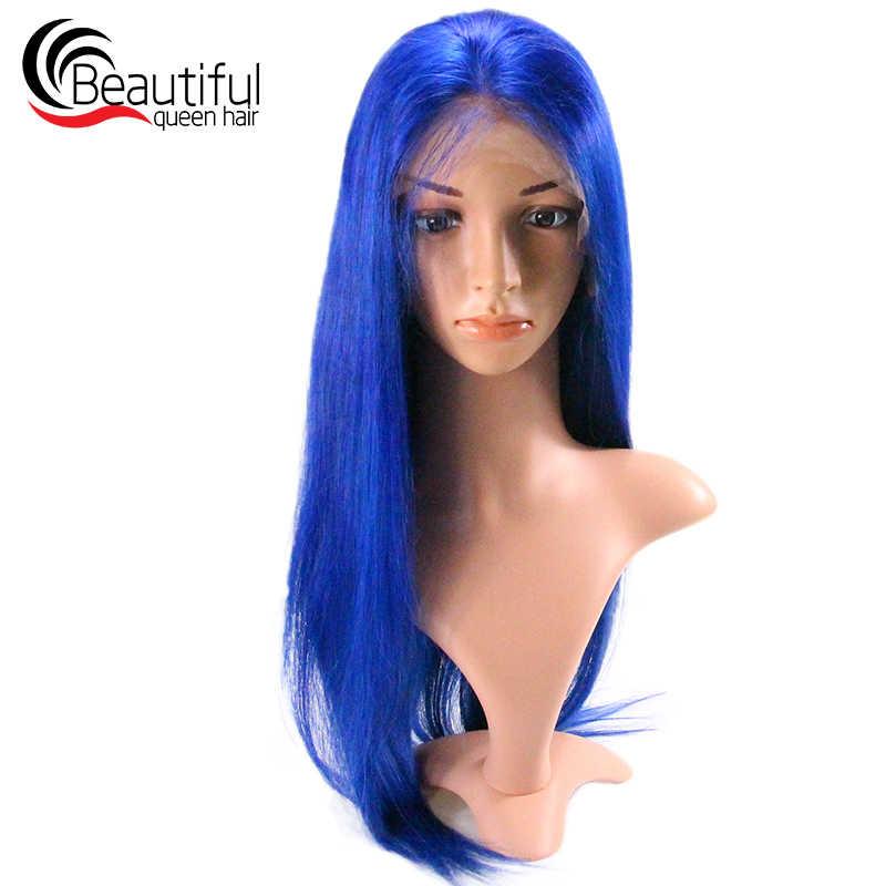Hermosa reina 10A pelo humano brasileño Peluca de encaje recto pelo virgen azul Pre desplumado nudos blanqueados con pelo de bebé 10-26