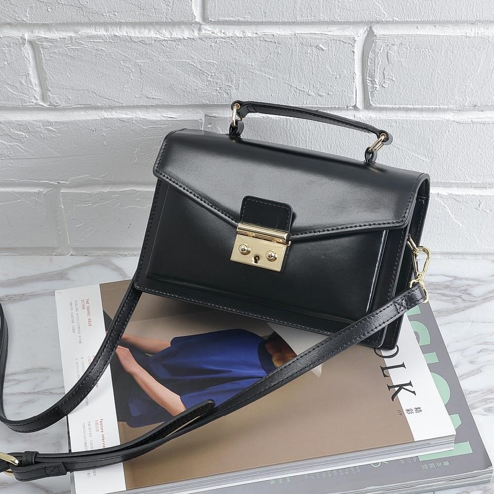 Image 5 - BISONJS Leather Women Handbag Luxury Handbags Women Bags Designer  Vintage Satchels Female Shoulder Bag bolsa feminina B1398Shoulder  Bags