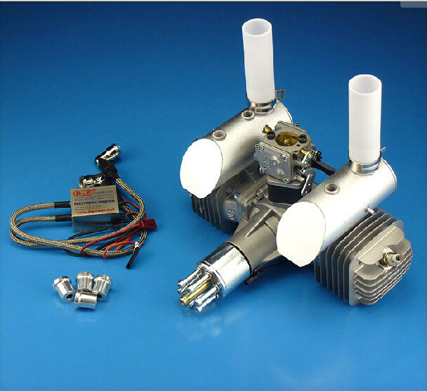 DLE111 111cc Twin Gasoline Engine W/ Electronic Ignition & Muffler For RC Plane dle111 rc model plane gasoline engine 11 2hp engine for rc gas airplane