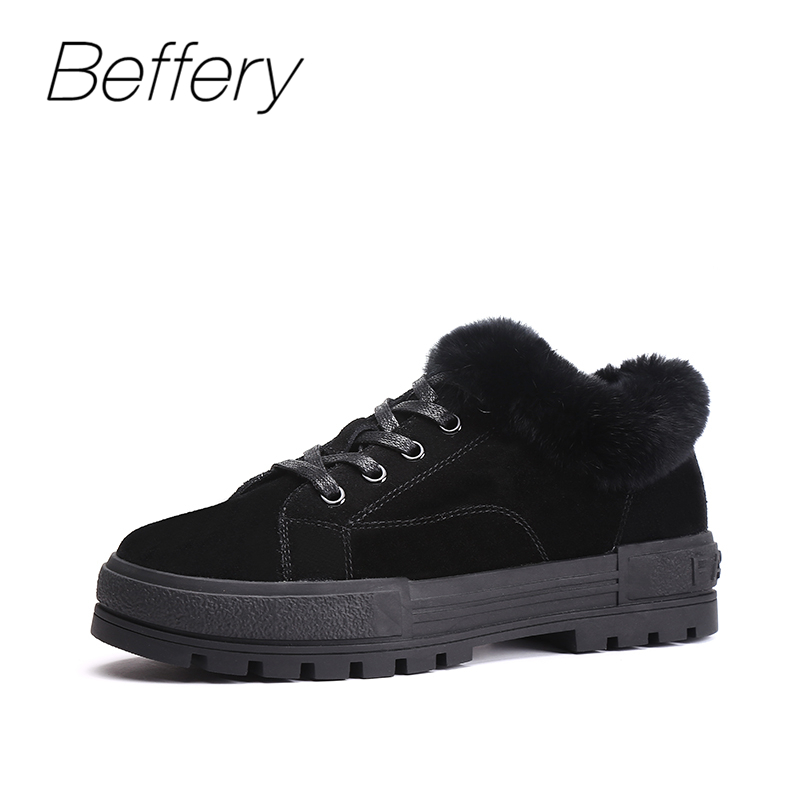 Beffery Chunky sneakers for Women Genuine Leather 2018 Winter Warm Real Fur Flat platform shoes Fashion Lace-up casual shoes beffery 2018 new fashion sneakers women genuine leather lace up flat platform shoes for women fashion star casual shoes a1md701
