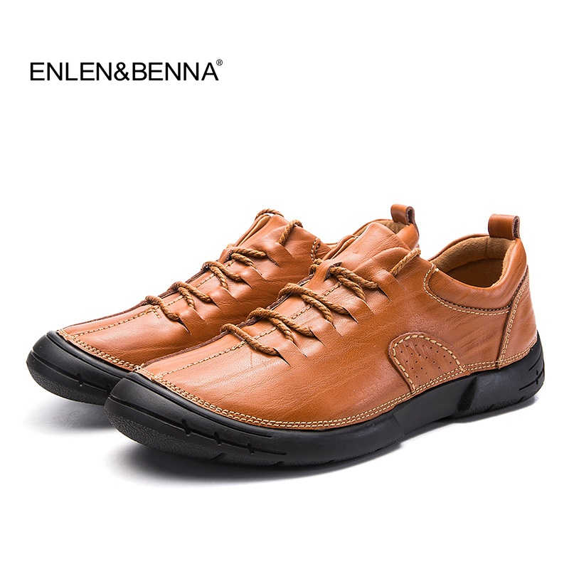 Enlenbenna Hot Sale Fashion British Style Men Causal Shoes handmade Genuine Leather Men High Quality Shoes Men
