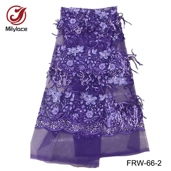 High quality african lace fabric with sequins beautiful flower pattern tissue lace material nigerian lace fabrics FRW-66