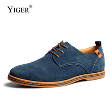 YIGER Men causal lace-up shoes large size Cow suede Tendon soles Breathable Four seasons mens big casual  0337