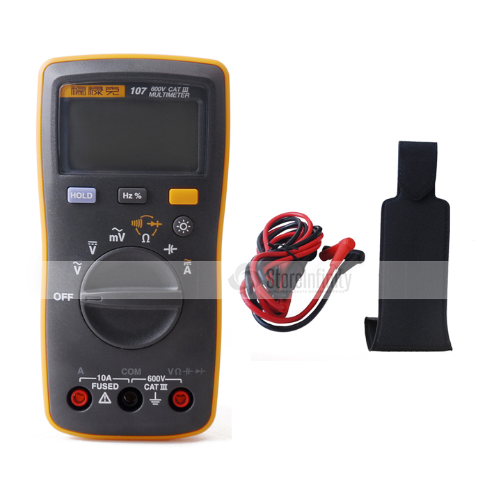 Fluke 107 AC/DC Current Handheld Digital Multimeter with Magnetic Pendant new fluke 303 clamp multimeter ac dc handheld 600a 30mm 4000ohm with backlight