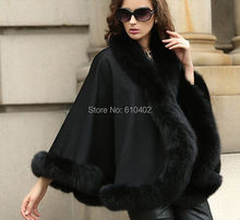 "free shipping/Lady's Genuine  Real Cashmere Genuine Fox  Fur Coat  ""A"" word style Cloak Poncho/sh awl//cape Wraps/ Black"