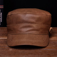 HL108 Men's genuine leather men baseball cap hat solid adjustable hats caps with 5 colors
