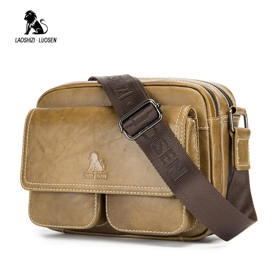 LAOSHIZI LUOSEN 2018 Fashion Men Shoulder Bag Vintage Small Cowhide Crossbody Bag Casual Genuine Leather Men Messenger Bag