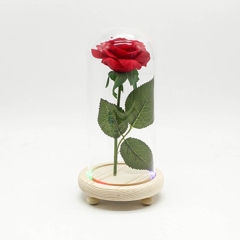 CW/_ Chic Artificial Rose Flower Glass Dome Desktop Ornament Valentine Day Gift D