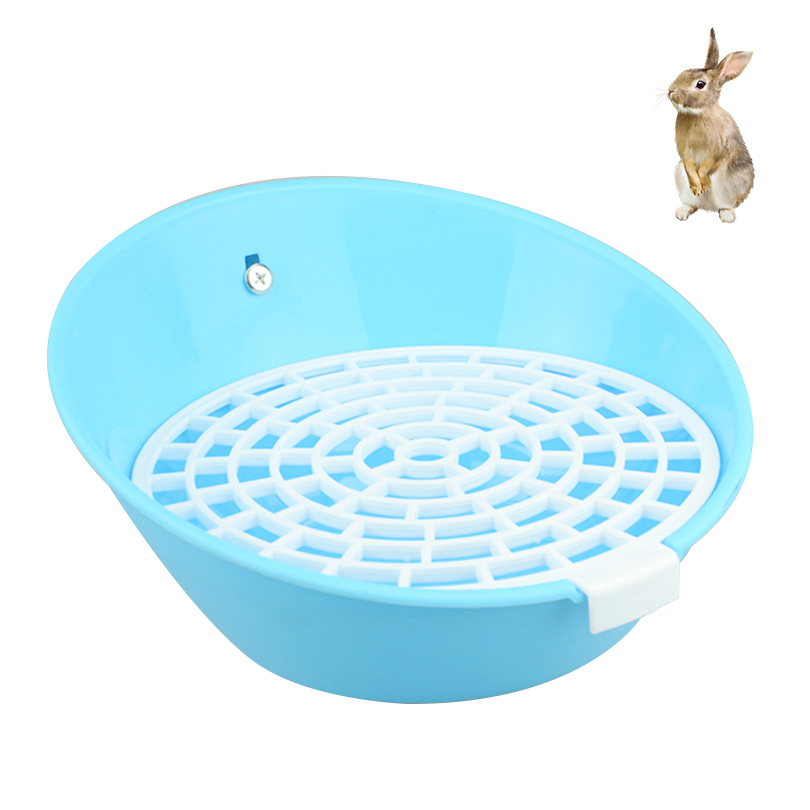 Petacc Rabbit Potty Trainer Fixable Pet Litter Box Small Animal Toilet Tray with Removable Screen Mesh Suitable for Hamsters