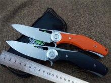 folding tactical knife Titanium Alloy+G10 handle D2 bearing flipper survival outdoors knives EDC high quality