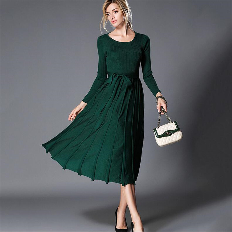 Tricot Femmes Arc O Robe cou Tunique En Robes Pulls 2018 Vintage Green Printemps Dos Jupettes Automne Nu Élégante Blac Noir Plissées dark kaki PXZikOuT