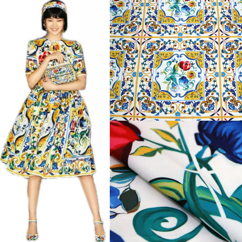 175x145cm printed fabric fashion dress scarf patchwork fabric polyester material diyparent child fabric wholesale cloth in Fabric from Home Garden