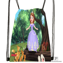Custom Princess Sofia Drawstring Backpack Bag for Man Woman Cute Daypack Kids Satchel (Black Back) 31x40cm#180531-01-30