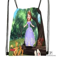 Custom Princess Sofia Drawstring Backpack Bag for Man Woman Cute Daypack Kids Satchel Black Back 31x40cm