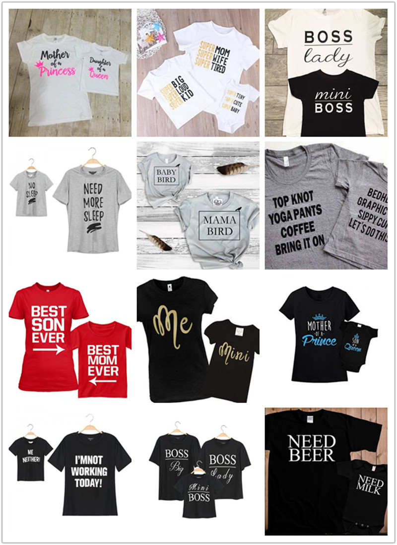 2018 family matching T shirt letter mommy and daughter son top summer romper family matchiong T shirt outfit цена 2017