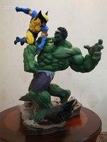 [Funny] Large size 36cm Combat Scene version Hulk VS Wolverine PVC Action figure Statue collection model adult gift Original box