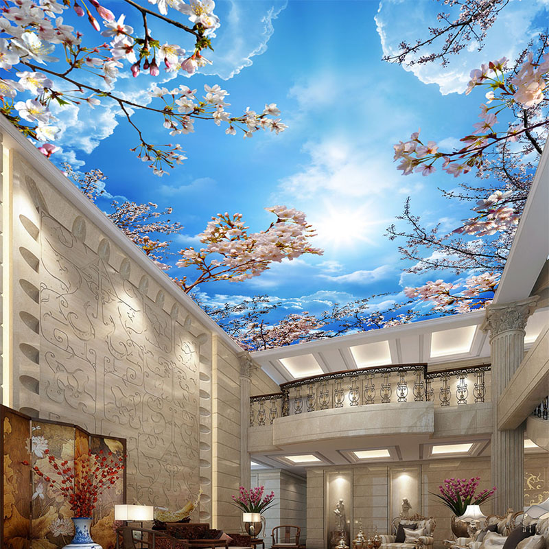 Custom Ceiling Wall Cloth Classic Blue Sky White Clouds Cherry Blossoms Photo Wallpaper Living Room Hotel Backdrop Wall 3D Mural