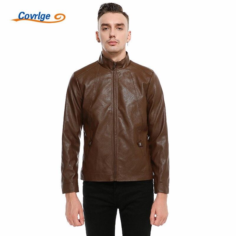 Covrlge 2018 New Spring High Quality PU Leather Jacket Men Fashion Brand font b Clothing b